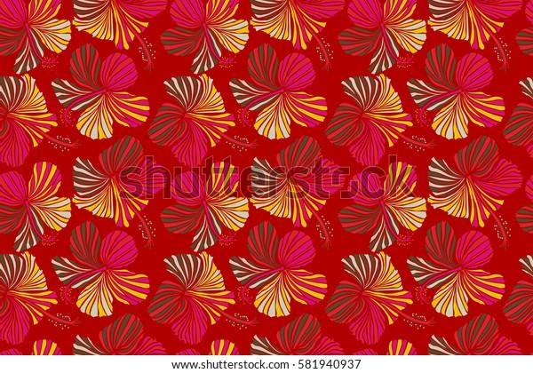 Aloha Hawaiian Shirt seamless Hibiscus Pattern In red Colors.