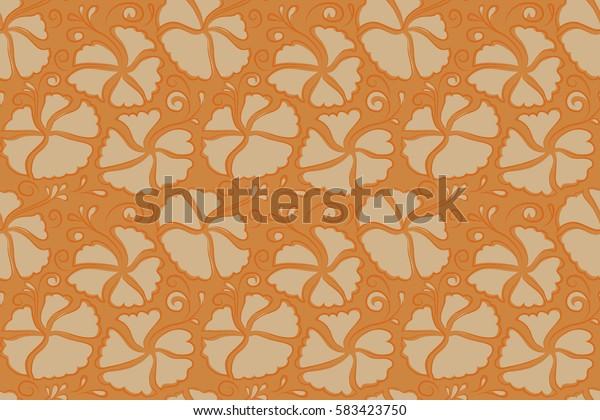Aloha Hawaiian Shirt seamless Hibiscus Pattern In orange and beige Colors.