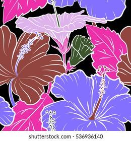 64da0b823e53 фотообои Aloha hawaiian shirt seamless pattern. Hibiscus in violet and  magenta colors on a black