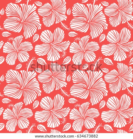 2f9e5229 Aloha hawaiian shirt seamless pattern. Hibiscus in white color on a pink  background.