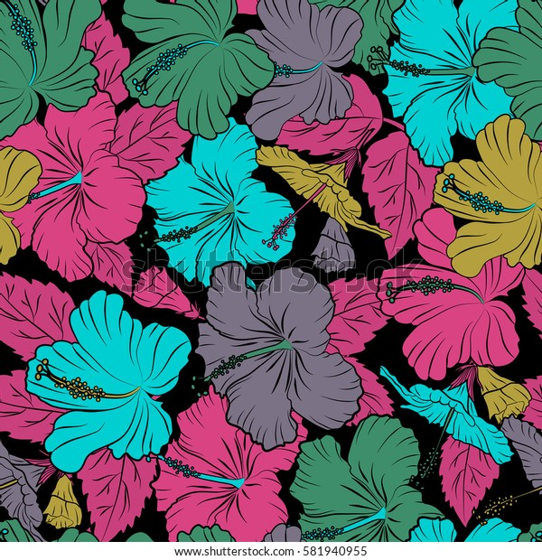 Aloha T-Shirt design. Best creative design for poster, flyer, presentation. Aloha Hawaii, Luau Party invitation on black background with hibiscus flowers in pink and yellow colors. Seamless pattern.