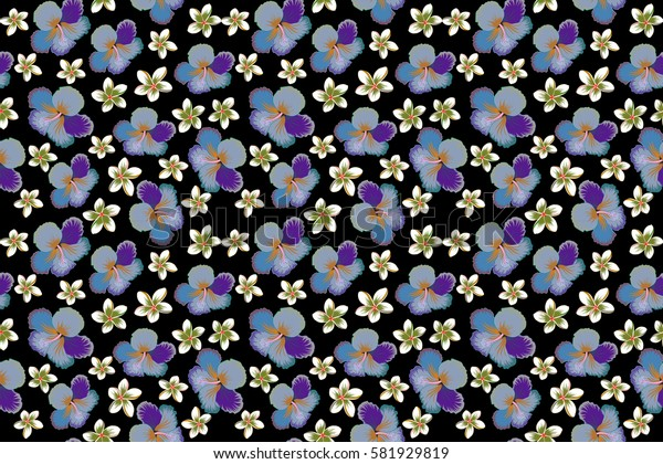 Aloha T-Shirt design. Raster seamless pattern. Best creative design for textile, poster, flyer. Aloha Hawaii, Luau Party invitation on black background with hibiscus flowers in violet and blue colors.
