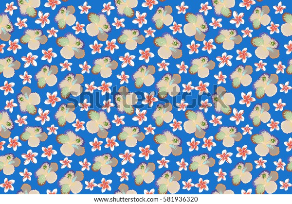 Aloha typography with hibiscus pattern. Floral illustration for t-shirt print, seamless pattern raster illustration on blue background.