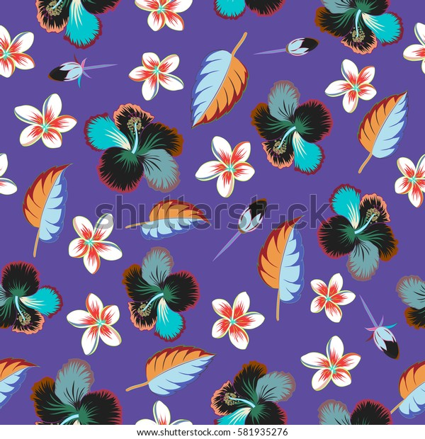 Aloha typography with multicolored hibiscus pattern. Floral illustration for t-shirt print, seamless pattern illustration on violet background.