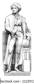 Alois Senefelder, one of the inventor of lithography, Statue by Maindron, vintage engraved illustration. Magasin Pittoresque 1846.