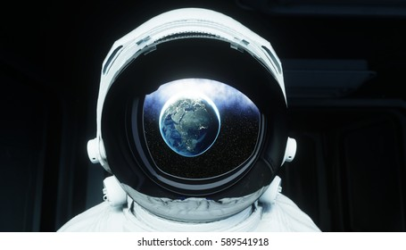 alone astronaut in space. Sci fi futuristic corridor. view of the earth. 3d rendering.