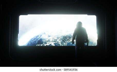alone astronaut in space. Sci fi futuristic corridor. view of the earth. 3d rendering.