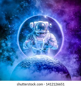 Alone in the final frontier / 3D illustration of science fiction scene with astronaut rising above moon surrounded by glowing galaxies in space