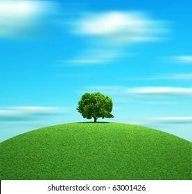 Alone tree on hill - 3d render illustration