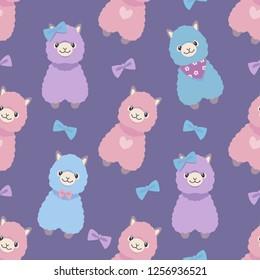 Alpaca or Lama cute colorful pastel purple cartoon style animal seamless graphic illustration pattern
