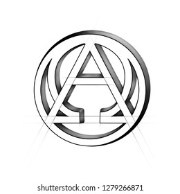 alpha and omega icon. Beginning and end sign. Greek alpha and omega symbol logo