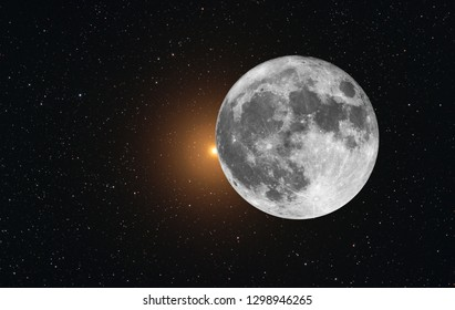 Alpha Orionis also called Betelgeuse star in the Orion constellation, occulted by super bright Moon in a scenic view in the deep stars space.