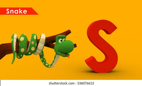 Alphabet & Animal. snake 3d Illustration
