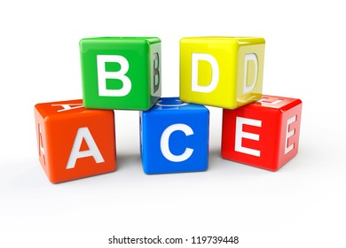 Alphabet Concept. ABCD cubes on a white background