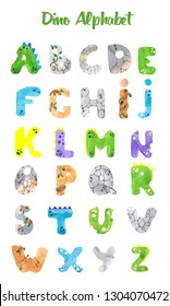 Alphabet with cute watercolor letters in dinosaur style
