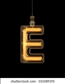Alphabet E made of light bulb. 3D illustration