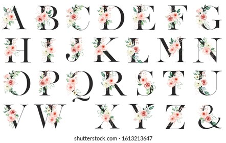 Alphabet floral letters set with watercolor flowers pink roses and leaf. Monogram initials perfectly for wedding invitation, greeting card, logo, poster and other. Holiday design hand painting.