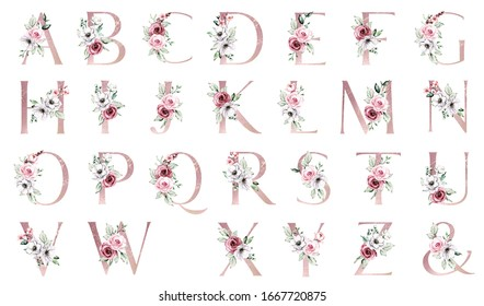 Alphabet, floral set letters with watercolor painting flowers roses and leaves. Isolated monogram initials perfectly for wedding invitations, greeting card, logo, poster and other. Holiday design.