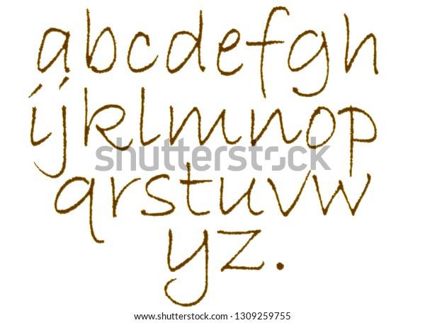 Alphabet Gold Glitter On Ewhite Background Stock