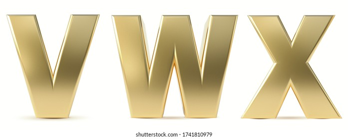 Alphabet Gold. Letters V, W, X, gold realistic 3d render. Ilustration isolated a white background.