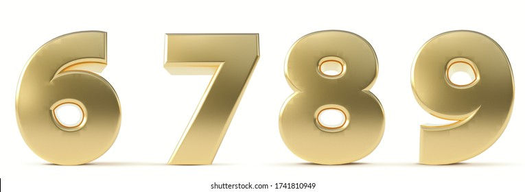 Alphabet Gold. Numbers 6, 7, 8, 9, gold realistic 3d render. Ilustration isolated a white background.