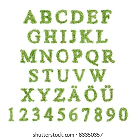 Alphabet with green grass letter