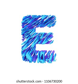 Alphabet letter E uppercase. Grungy font made of brushstrokes. 3D render isolated on white background. Typographic symbol from liquid vivid acrylic paint.