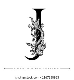 Alphabet Letter J with Black and White Hand Drawn Floral Background