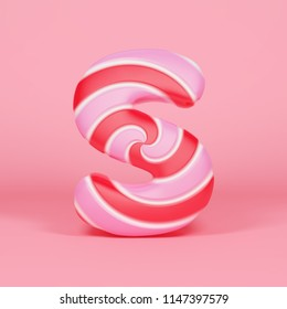 Alphabet letter S uppercase. Christmas font made of pink and red striped lollipop. 3D render on orange background. Tasty confection from delicious lollypop caramel.