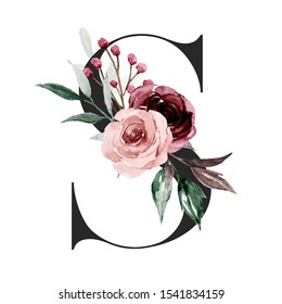 Alphabet, letter S with watercolor flowers and leaf. Floral monogram initials perfectly for wedding invitations, greeting card, logo, poster and other design. Holiday design hand painting.