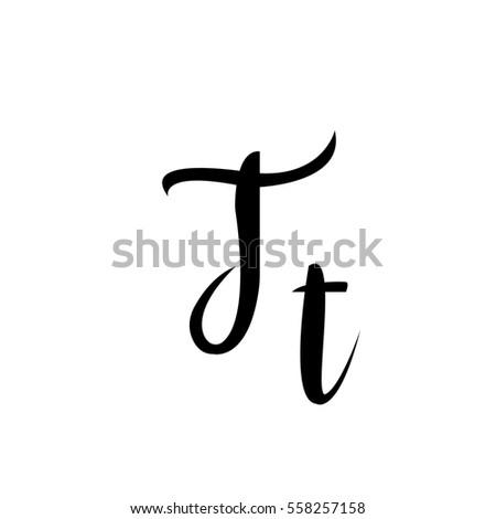 Alphabet Letter T Lettering Calligraphy Manuscript Stock