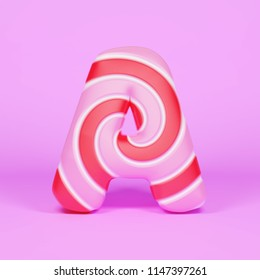 Alphabet letter A uppercase. Christmas font made of pink and red striped lollipop. 3D render on pink background. Tasty confection from delicious lollypop caramel.