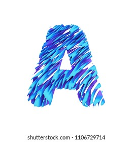 Alphabet letter A uppercase. Grungy font made of brushstrokes. 3D render isolated on white background. Typographic symbol from liquid vivid acrylic paint.
