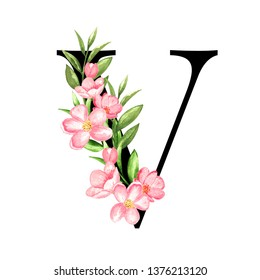 Alphabet. Letter V, monogram with floral design. Watercolor hand painted pink flowers, green, leaves. Isolated on white background