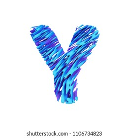 Alphabet letter Y uppercase. Grungy font made of brushstrokes. 3D render isolated on white background. Typographic symbol from liquid vivid acrylic paint.