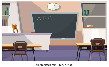 Alphabet letters on blackboard in classroom illustration. Modern school room with teachers table and desks. Interior illustration