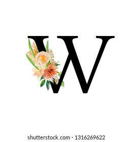 Alphabet letters and watercolor flowers