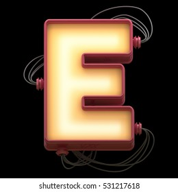 alphabet for light board with wires. 3d rendering.