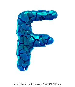 Alphabet made of plastic shards blue color isolated on white background- letter F 3d rendering