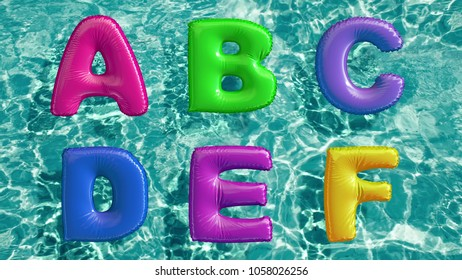 alphabet made of shaped inflatable swim ring floating in a refreshing blue swimming pool. 3d rendering
