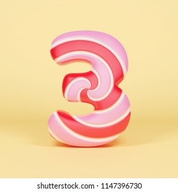 Alphabet number 3. Christmas font made of pink and red striped lollipop. 3D render on yellow background. Tasty confection from delicious lollypop caramel.