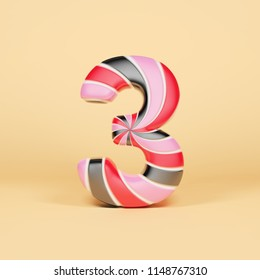 Alphabet number 3. Christmas font made of pink, red and black striped lollipop. 3D render on orange background. Tasty confection from delicious lollypop caramel.