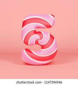 Alphabet number 5. Christmas font made of pink and red striped lollipop. 3D render on orange background. Tasty confection from delicious lollypop caramel.