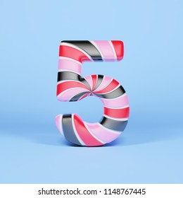 Alphabet number 5. Christmas font made of pink, red and black striped lollipop. 3D render on blue background. Tasty confection from delicious lollypop caramel.
