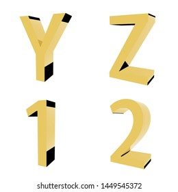 3d Letters Numbers Gold Stock Illustrations, Images