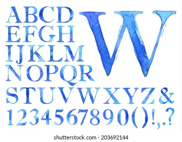 Alphabet set drawn watercolor blots and stains with a spray blue color.