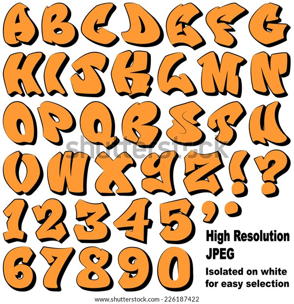 Alphabet Set Graffiti Letters Numbers Isolated Stock