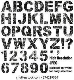 An Alphabet Set of Grunge Stencil Letters and Numbers - Also Available in Vector