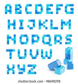 Alphabet set made of toy construction brick blocks isolated isolated on white