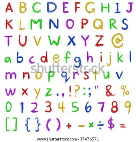 Alphabet Set Numerals Punctuations Kids Crayon Stock Illustration
